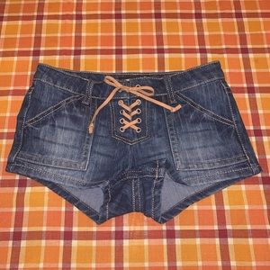 Almost Famous Lace Up Denim Shorts